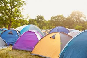 Tents at a music festival campsite